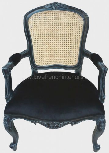 Louis Rattan Back Carver Chair in Noir Black